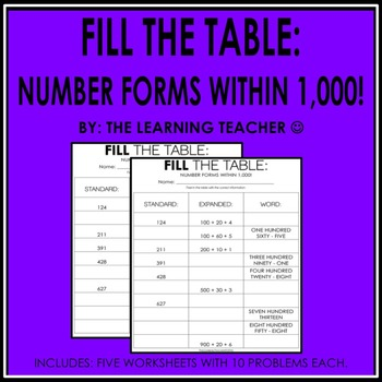 Fill The Table: Number Forms Within 1,000.