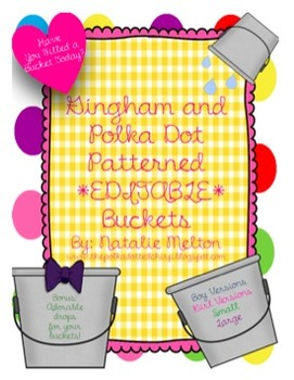 Fill Your Bucket, Bucket Fillers, *EDITABLE*