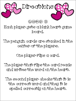 Fill Your Heart - A Penguin Sight Word Game - Valentines