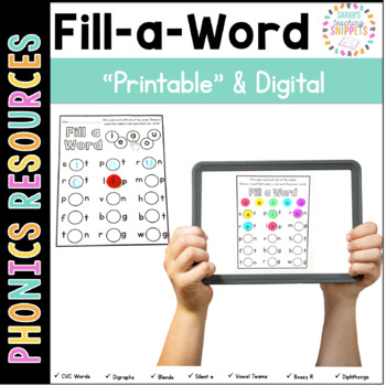 Fill a Word Phonics Fun for Word Work and RTI