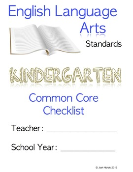 Fill and Save Kindergarten CCSS ELA Checklist and Report Document