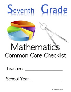Fill and Save Seventh Grade (7th Grade) CCSS Math Checklist and Report Document