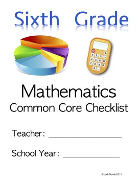 Fill and Save Sixth Grade (6th Grade) CCSS Math Checklist and Report Document