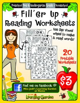 Fill\'er Up Reading Worksheets by Miss Jodi\'s Learning Garden   TpT