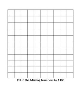 Blank chart Daily Teachers Pay Teachers Fill In Blank 110 Chart By Roxanne Jessee Teachers Pay Teachers