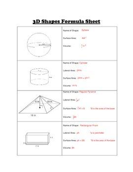 Fill in Formula Sheet for 3D Shapes