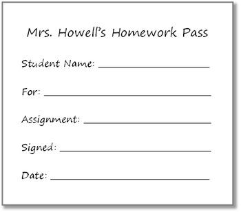 Fill in Homework Pass