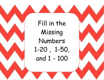 Fill in Missing Numbers Math Station (1-20, 1-50, 1-100)