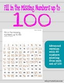 Fill in Missing Numbers Up to 100, Advanced Version