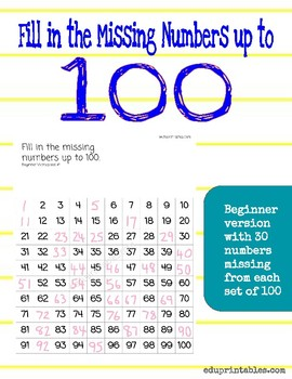 Fill in Missing Numbers Up to 100, Beginner Version