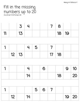 Fill in Missing Numbers Up to 20, Advanced Version