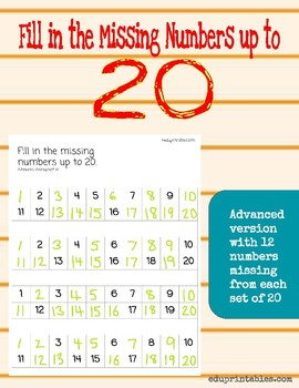 Fill In The Missing Number 1-20 Worksheets & Teaching Resources | TpT