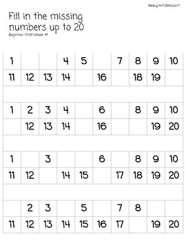 Fill in Missing Numbers Up to 20, Beginner Version