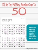 Fill in Missing Numbers Up to 50, Advanced Version