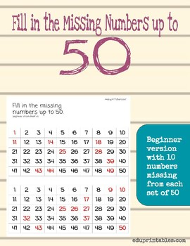 Fill in Missing Numbers Up to 50, Beginner Version
