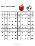 Fill in Missing Numbers to 100 (10 Unique Worksheets )/ Preschool & Kindergarten