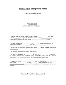 Fill-in Notes Sheet for Orwell and Russ. Hist. PowerPoint