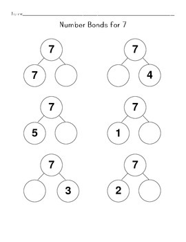 Math Worksheets: Fill in Number Bonds- One Number Per Page