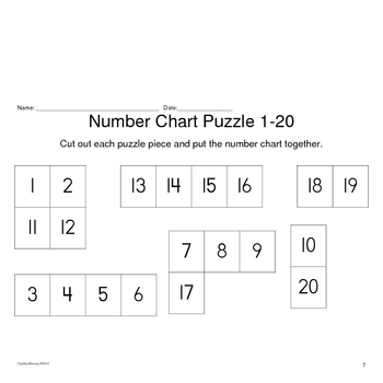Fill in Number Charts and Number Chart Puzzle Activities 1-310