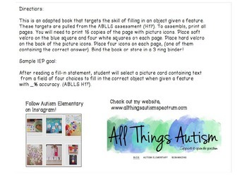 Fill-in Object Given Feature Adapted Book For Autism