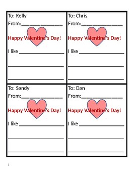 Fill in Valentine's Day Cards