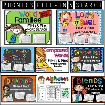 Word Search Bundle:  Fill-in and Find Phonics Puzzles