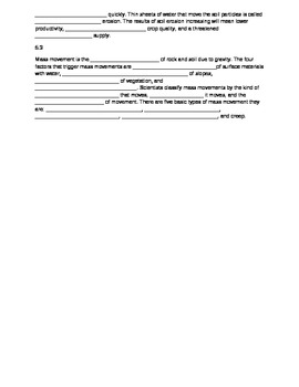 Fill in blank review for Rocks, Soil & Weathering