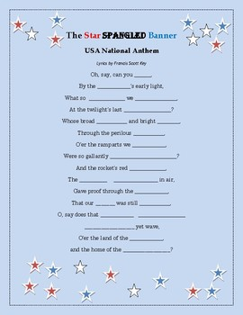 Fill in the Anthem (Star Spangled Banner)