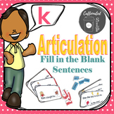 Articulation Fill in the Blank Sentences- K sound: Color and B&W