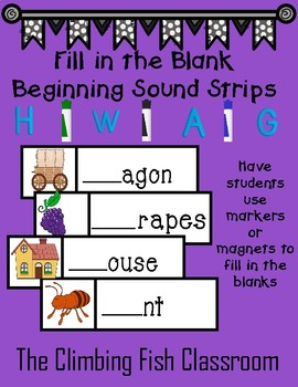 Fill in the Blank Beginning Alphabet Sound Strips