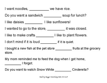 Fill in the Blank- Conjunctions