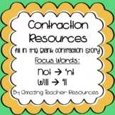 Fill in the Blank Contraction Story! Contractions Not ('nt) and Will ('ll)