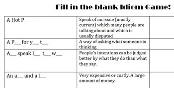 Fill in the Blank Idiom Game