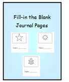 Fill-in the Blank Journal Pages for Students with Special Needs