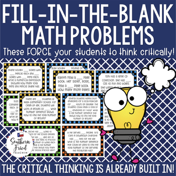 Math Critical Thinking Word Problems - Fill in the Blank Problems