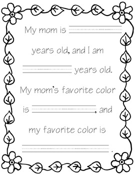 Fill in the Blank Mother's Day Book