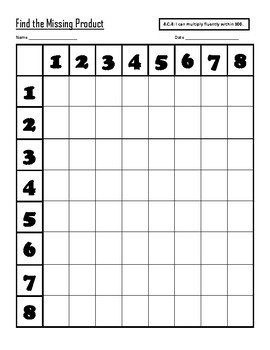 Fill in the Blank Multiplication Table (Facts 1 through 12)