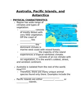 Fill in the Blank Notes for Australia, Antarctica, and Pacific Islands