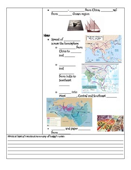 Fill-in-the-Blank Notes for VA SOL WHI.10 Trade Routes, Africa and Japan
