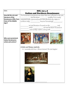 Fill-in-the-Blank Notes for VA SOL WHI.13 Italian and Northern Renaissance