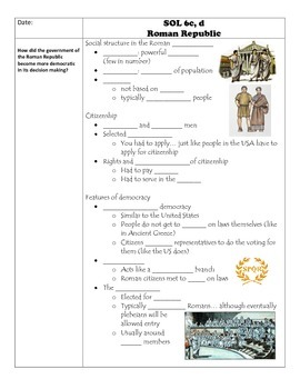 Fill-in-the-Blank Notes for VA SOL WHI.6a-f Roman Republic
