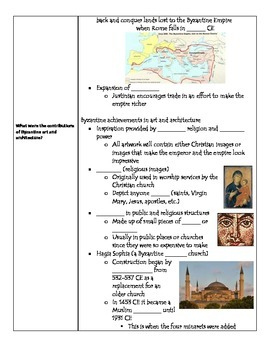 Fill-in-the-Blank Notes for VA SOL WHI.7 Byzantine Empire