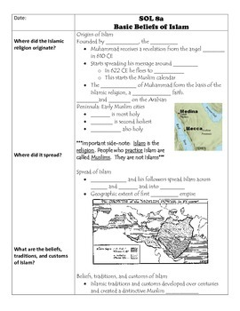 Fill-in-the-Blank Notes for VA SOL WHI.8 Islamic Civilization