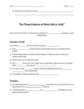 Fill in the Blank Notes that go with  Ch 15 Africa PowerPoint