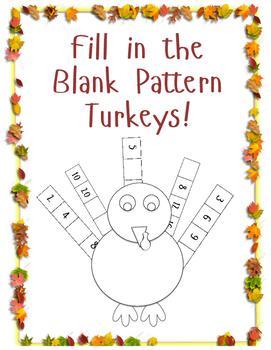 Fill in the Blank Number Pattern Turkeys!