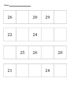 Fill in the Blank Numbers 20-40