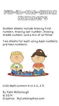Fill-in-the-Blank Numbers: Primary and Teen--Fall Theme