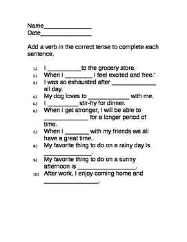 Fill in the Blank Parts of Speech Practice