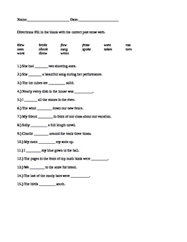 Fill in the Blank Past Tense Verbs