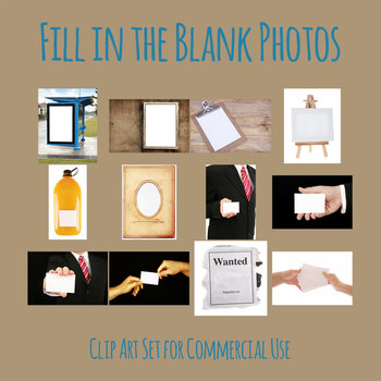 Fill in the Blank Photos Clip Art Set for Commercial Use